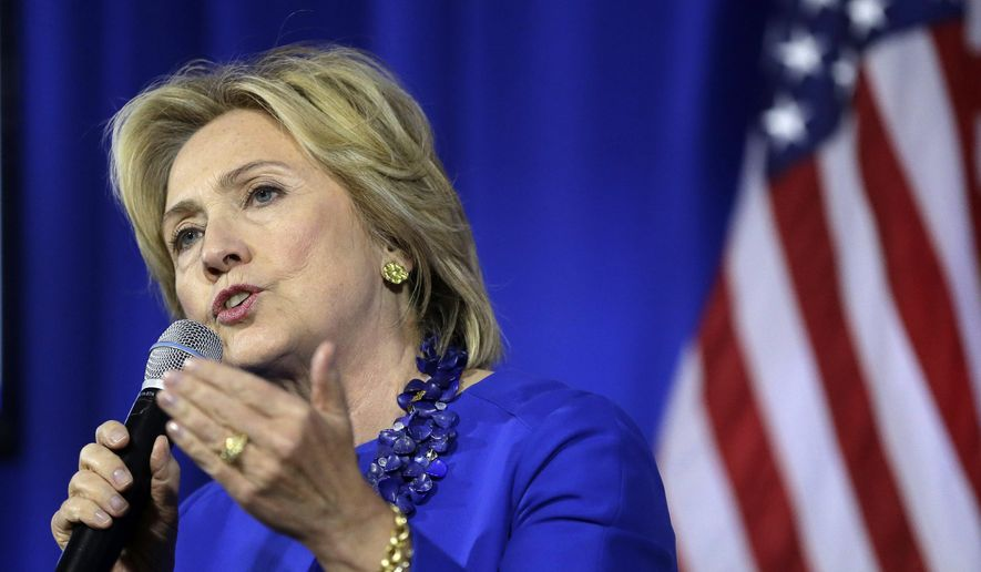 Democratic presidential candidate Hillary Rodham Clinton speaks during a forum on substance abuse, Thursday, Oct. 1, 2015, in Boston. (AP Photo/Steven Senne)