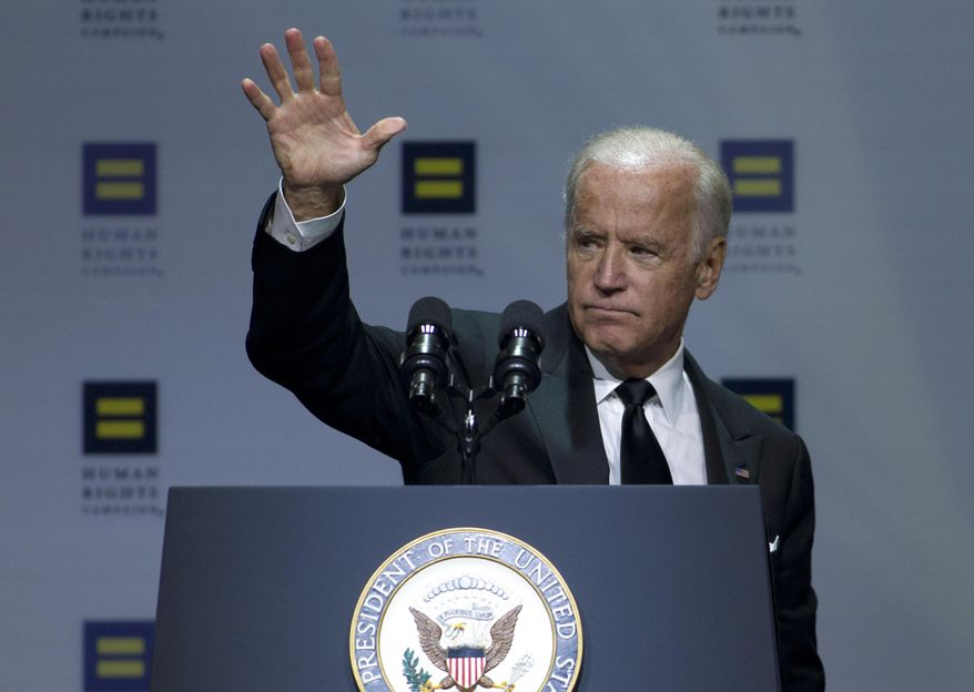Vice President Joe Biden waves to the crowd after he speaks, during Human Rights Campaign National Dinner at  Walter E. Washington Convention Center, in  Washington, Saturday, Oct. 3, 2015. ( AP Photo/Jose Luis Magana) ** FILE **