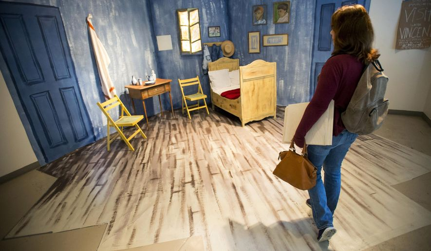 In this photo taken Sept  24  2015  Susie Wiernicki  an illustration artUNL art students convert Vincent Van Gogh s  Bedroom    Washington  . The Bedroom Van Gogh Painting. Home Design Ideas