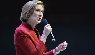 Carly Fiorina speaks to supporters at the Take Back America Presidential Forum in Greenville, S.C., in this Sept. 18, 2015, file photo. (AP Photo/Richard Shiro, File)