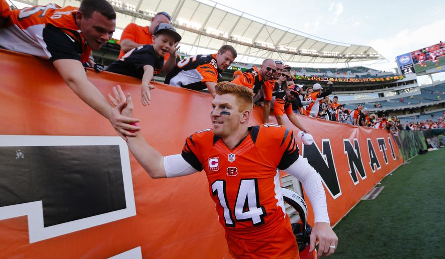 Cincinnati Bengals quarterback Andy Dalton celebrates with fans after an NFL football game against the Kansas City Chiefs, Sunday, Oct. 4, 2015, in Cincinnati. The Bengals won 36-21. (AP Photo/Paul Sancya)