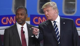 "A ""surge"" in Republican preference for those with new ideas and different outlooks likely drives the popularity of ""outsider"" candidates like Donald Trump and Ben Carson. (Associated Press) ** FILE **"