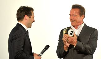 Arnold Schwarzenegger receives a Golden Icon Award at the Zurich International Film Festival.  (ZFF.com)