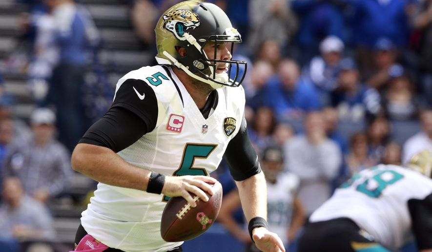 Jacksonville Jaguars' Blake Bortles (5) looks to throw during the first half of an NFL football game against the Indianapolis Colts, Sunday, Oct. 4, 2015, in Indianapolis. (AP Photo/R Brent Smith)