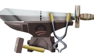 Illustration on cutting back the military by Alexander Hunter/The Washington Times