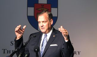 In this file photo, the Rev. R. Albert Mohler Jr., president of Southern Baptist Theological Seminary, speaks to reporters on Monday, Oct. 5, 2015 about a conference in Louisville, Ky. Rev. Mohler is among a number of Southern Baptist seminary presidents to release a joint statement on Nov. 30, 2020, condemning Critical Race Theory (AP Photo/Bruce Schreiner)  **FILE**