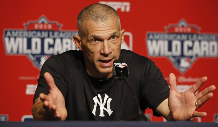 New York Yankees manager Joe Girardi speaks to the media about Yankees starting pitcher CC Sabathia, who checked himself into an alcohol rehabilitation center,  before a workout day Monday, Oct. 5, 2015, for Tuesday's American League Wild Card game at Yankee Stadium in New York. (AP Photo/Kathy Willens)