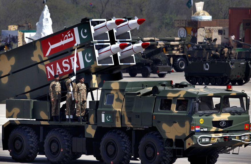 A Nasr missile is loaded on a military vehicle during the Pakistan National Day parade in Islamabad, Pakistan, Monday, March 23, 2015. (Associated Press)