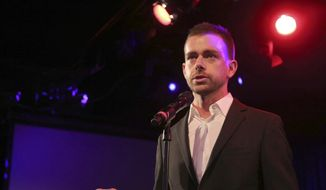 Twitter co-founder Jack Dorsey speaks at a fundraiser in New York, in this April 24, 2013, file photo. Revealed in a regulatory filing on Monday, Oct. 5, 2015, Twitter is embracing Dorsey as its CEO in hopes that its once-spurned co-founder can hatch a plan to expand the short messaging service's audience and end nearly a decade of financial losses. (AP Photo/Mary Altaffer, File)