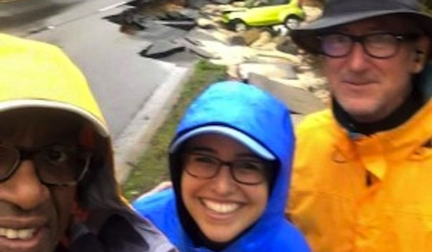 NBC weatherman Al Roker faced backlash Sunday after he tweeted a photo of himself grinning amid the destruction caused by severe flooding in South Carolina. (Al Roker via Mediaite)