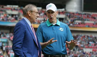 Miami Dolphins owner Stephen Ross, left, and Miami Dolphins head coach Joe Philbin chat during warm-up before the NFL football game between the New York Jets and the Miami Dolphins and at Wembley stadium in London, Sunday, Oct. 4, 2015. (AP Photo/Tim Ireland)