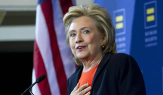 Democratic presidential candidate Hillary Rodham Clinton gestures as she speaks at Human Rights Campaign gathering in Washington, in this Oct. 3, 2015, file photo. (AP Photo/Jose Luis Magana, File)