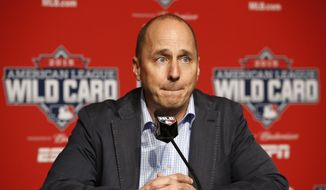 New York Yankees general manager Brian Cashman addresses the media about New York Yankees starting pitcher CC Sabathia, who told the club he is checking himself into an alcohol rehabilitation center and therefore will miss the playoffs, before a workout day Monday, Oct. 5, 2015, for Tuesday's American League Wild Card game at Yankee Stadium in New York. (AP Photo/Kathy Willens) ** FILE **