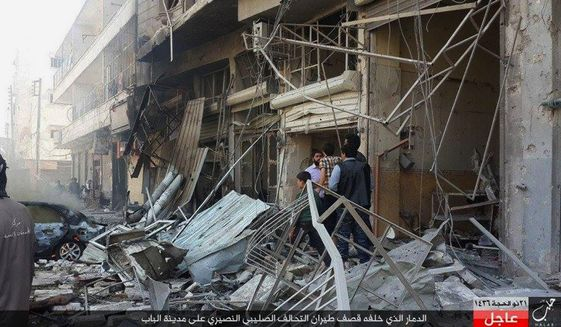 The Britain-based Syrian Observatory for Human rights said warplanes believed to be Russian have targeted the northern town of Al-Bab, Syria. Some see the fight among Middle East factions as a proxy war between Russia and the U.S. (Associated Press)