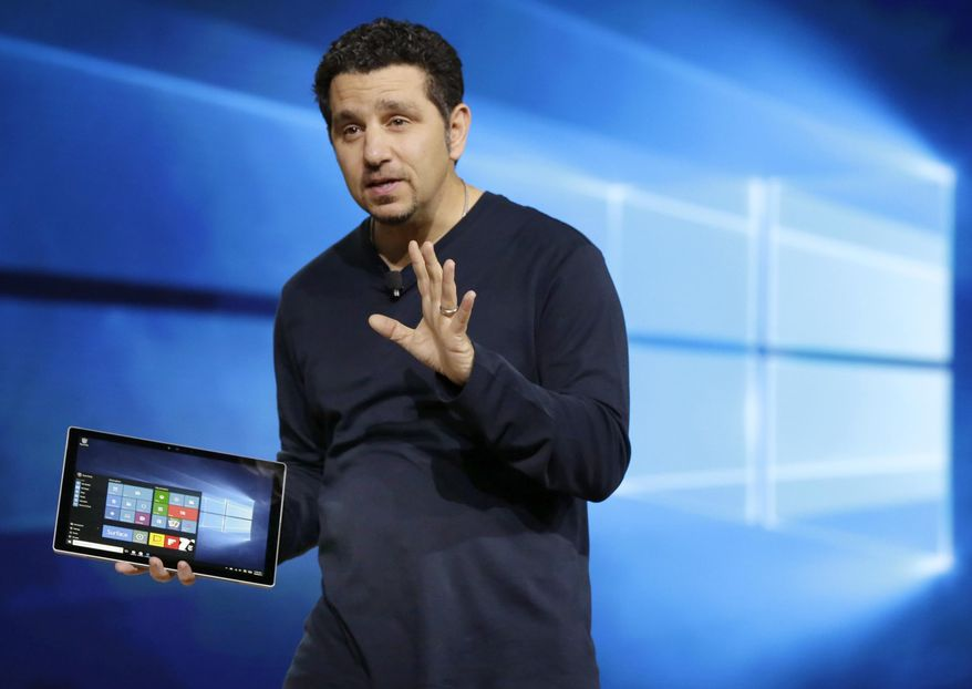 Microsoft vice president for Surface Computing Panos Panay talks about the new Surface Pro 4 tablet during a presentation, in New York, Tuesday, Oct. 6, 2015. The Surface Pro 4 tablet is faster and thinner than before, yet it comes with a slightly larger screen at 12.3 inches. (AP Photo/Richard Drew)