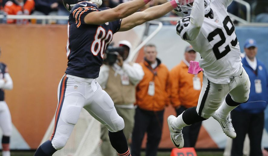 Oakland Raiders cornerback David Amerson (29) breaks up a pass intended for Chicago Bears wide receiver Marc Mariani (80) during the second half of an NFL football game, Sunday, Oct. 4, 2015, in Chicago. (AP Photo/Charles Rex Arbogast)
