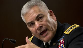 """U.S. Forces-Afghanistan Resolute Support Mission Commander Gen. John Campbell testifies on Capitol Hill in Washington, Tuesday, Oct. 6, 2015, before the Senate Armed Services Committee hearing on the Situation in Afghanistan. U.S. forces attacked a hospital in northern Afghanistan last weekend, killing at least 22 people, despite """"rigorous"""" U.S. military procedures designed to avoid such mistakes, the top commander of U.S. and allied forces in Afghanistan said Tuesday. (AP Photo/Carolyn Kaster)"""