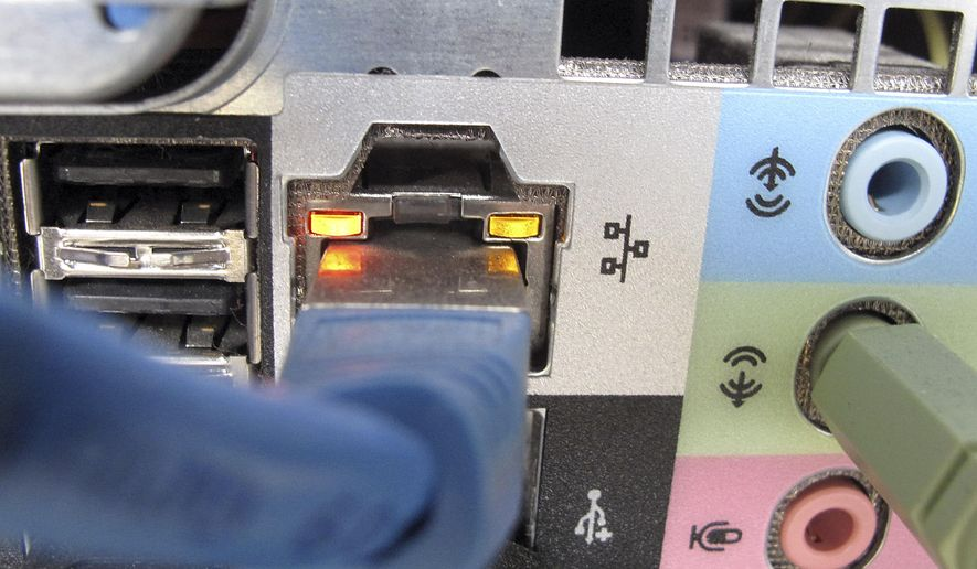 This Oct. 8, 2009 file photo shows a network cable plugged into the back of a computer in Duesseldorf, Germany. Cybercrime costs are climbing for companies both in the U.S. and overseas amid a slew of high-profile breaches, according to research released Tuesday, Oct. 6, 2015. (AP Photo/Frank Augstein, File)