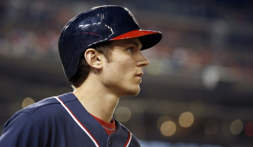 Washington Nationals shortstop Trea Turner (7) waits to bat during a baseball game against the Miami Marlins at Nationals Park, Friday, Sept. 18, 2015, in Washington. The Nationals won 5-4 in 10 innings. (AP Photo/Alex Brandon)