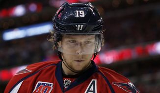 Washington Capitals center Nicklas Backstrom (19), from Sweden, skates on the ice during a break the first period of Game 3 in the second round of the NHL Stanley Cup hockey playoffs against the New York Rangers, Monday, May 4, 2015, in Washington. (AP Photo/Alex Brandon)