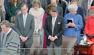 Rev. Donn Moomaw praying during the 1981 inauguration of President Ronald Reagan. (Photo courtesy Ronald Reagan Library, which states that photos are available for use because they are official government records [Public domain], via Wikimedia Commons.)