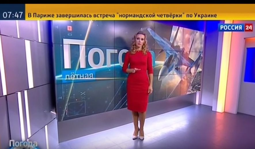 """A Russian weather reporter indicated conditions were """"ideal"""" for fighter jets conducting air strikes in Syria. (Image: screen grab Youtube)"""