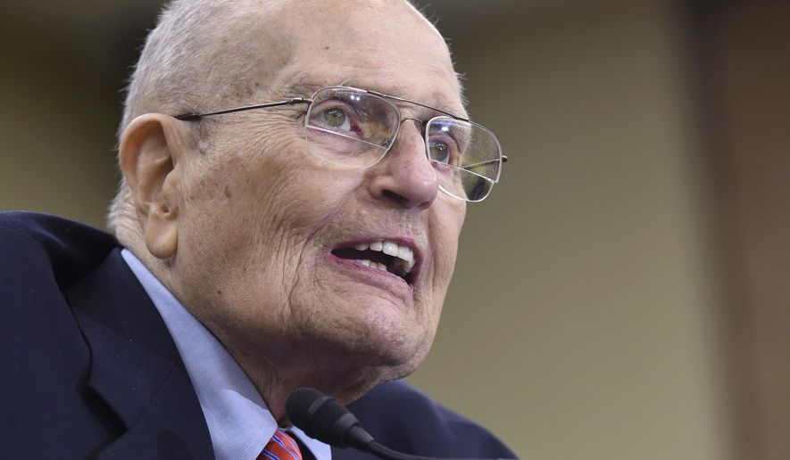 FILE - In this July 29, 2015 file photo, former Rep. John Dingell, D-Mich., speaks on Capitol Hill in Washington. Dingell's wife released a statement Tuesday, Oct. 6, 2105, saying her 89-year-old husband was admitted to Henry Ford Hospital in Detroit  on Monday for a heart procedure, though she didn't offer specifics.  (AP Photo/Susan Walsh, File)
