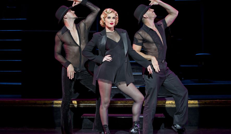 "In this image released by Boneau/Bryan-Brown, Denny Paschall, from left, Rumer Willis and Michael Scirrotto appear during a performance of ""Chicago The Musical,"" at the Ambassador Theatre in New York. Willis appears in the musical until Nov. 1.  (Jeremy Daniel/Boneau/Bryan-Brown via AP)"