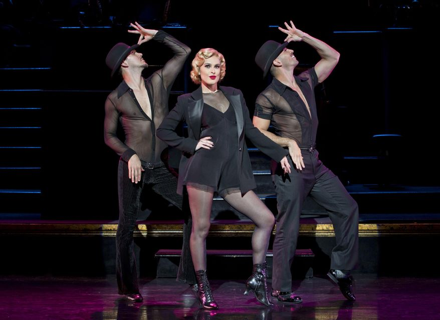 """In this image released by Boneau/Bryan-Brown, Denny Paschall, from left, Rumer Willis and Michael Scirrotto appear during a performance of """"Chicago The Musical,"""" at the Ambassador Theatre in New York. Willis appears in the musical until Nov. 1.  (Jeremy Daniel/Boneau/Bryan-Brown via AP)"""