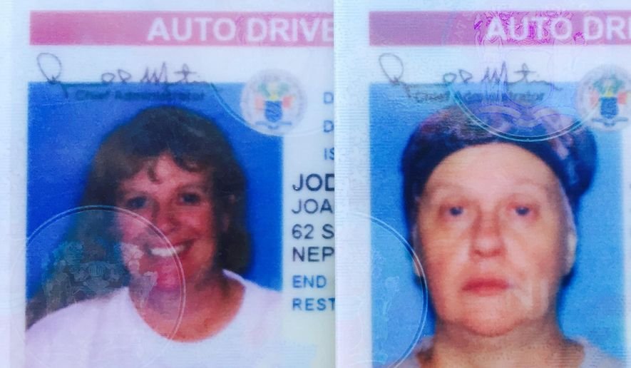 These undated photos provided by the New Jersey Department of Motor Vehicles show Joanne Jodry, left, before undergoing chemotherapy and after the treatment started, at right. Jodry said the state Motor Vehicle Commission wouldn't let her use an old driver's license photo showing her with long blond hair. The 53-year-old was diagnosed with stage 2 breast cancer in April 2015. (New Jersey Department of Motor Vehicles/Asbury Park Press via AP)