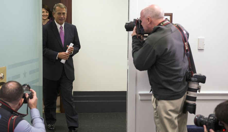 Outgoing House Speaker John Boehner of Ohio, followed by Rep. Cathy McMorris Rodgers, R-Wash., arrives for a new conference on Capitol Hill in Washington, Wednesday, Oct. 7, 2015, following the weekly House Republican conference. The House's most hard-edged conservatives are trying to keep McCarthy from inheriting the Speaker post from Boehner once he steps down. (AP Photo/Evan Vucci)