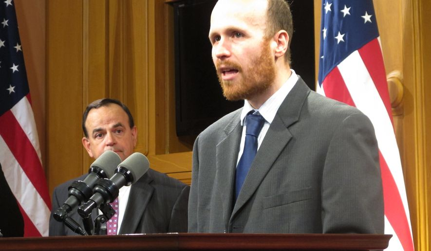 In this Sept. 29, 2015 photo, Mike Brickner, senior policy director of the American Civil Liberties Union of Ohio, talks about a proposed bill that would make it harder for authorities investigating crimes to seize the property of innocent third-party owners in Columbus, Ohio. Brickner unveiled a new ACLU report that concludes Ohio lawmakers are undermining efforts to reduce the state's prison population by continuing to introduce tough-on-crime bills, on Wednesday, Oct. 7, 2015, in Columbus, Ohio. (AP Photo/Andrew Welsh-Huggins)