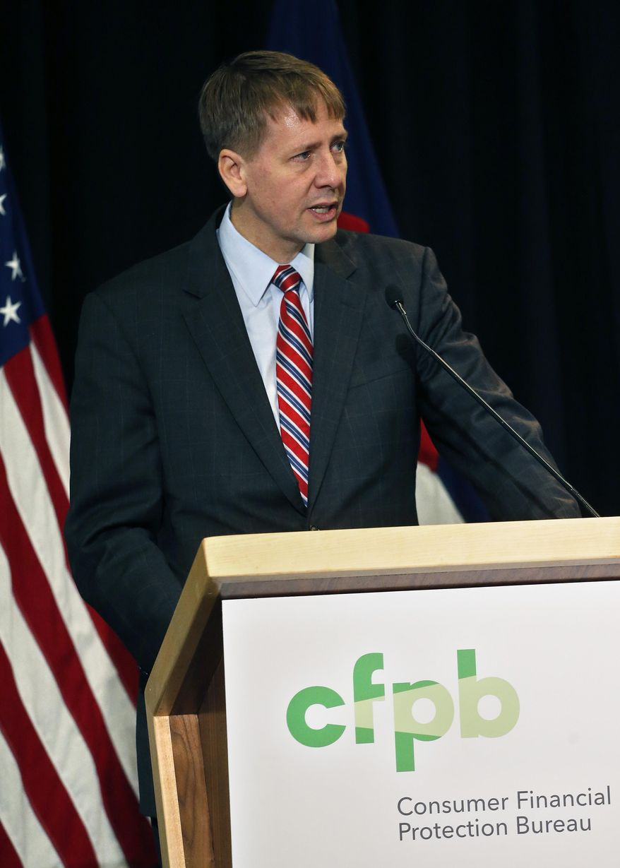 In this file photo, Consumer Financial Protection Bureau Director Richard Cordray speaks during a a hearing in Denver where he discussed his agency's proposal on arbitration, in Denver, Colo., Wednesday, Oct. 7, 2015. If enacted, the plan would severely curtail a contentious practice called mandatory arbitration, which consumer advocates have long argued does a disservice to people who have disputes with banks, credit card issuers and other financial service providers. (AP Photo/Brennan Linsley) **FILE**
