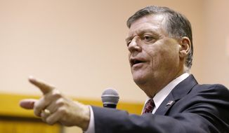 Rep. Tom Cole, Oklahoma Republican, speaks in Moore, Okla., on Aug. 18, 2015. (Associated Press) **FILE**
