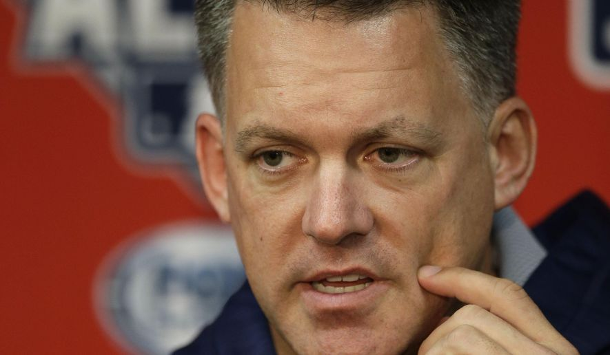 Houston Astros manager A.J. Hinch listens to a question during a news conference at Kauffman Stadium in Kansas City, Mo., Wednesday, Oct. 7, 2015. The Astros face the Kansas City Royals in Game 1 of the ALDS Thursday in Kansas City. (AP Photo/Orlin Wagner)