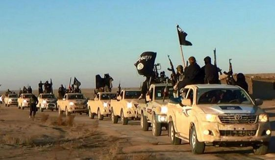 In this undated file photo released by a militant website, which has been verified and is consistent with other AP reporting, militants of the Islamic State group hold up their weapons and wave flags as they ride in a convoy, which includes multiple Toyota pickup trucks, through Raqqa city in Syria on a road leading to Iraq. (Militant website via AP, File)