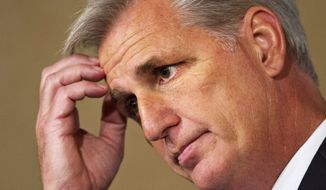 House Majority Leader Kevin McCarthy is expected to garner a majority of support when the House Republican conference casts secret ballots Thursday for speaker. But with more than 30 conservatives opposing him, the California Republican would fall short of the 218 votes needed to win a floor vote scheduled for Oct. 29. (Associated Press)