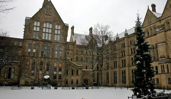 The Old Quadrangle at the University of Manchester's main campus on Oxford Road. (Wikipedia)