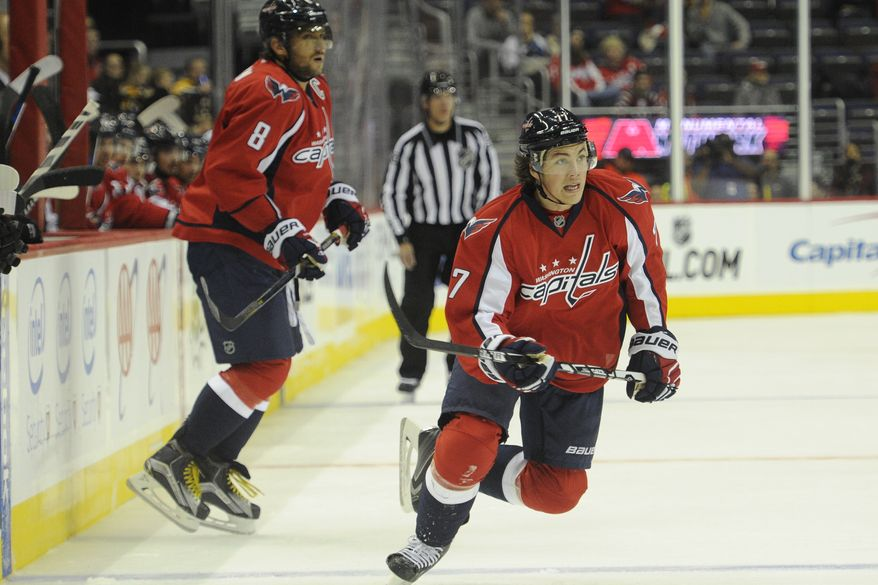Washington Capitals right wing T.J. Oshie (77)and left wing Alex Ovechkin (8) at the Verizon Center, Oct. 2, 2015, in Washington, D.C. (Preston Keres/Special to The Washington Times)