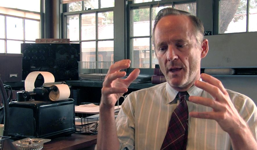 """In this July 6, 2015 photo from a video screen grab, John Benjamin Hickey, who plays scientist Frank Winter in the WGN America series """"Manhattan,"""" talks about his role in the show's second season on the set in Santa Fe, N.M. """"Manhattan"""" returns for its second season Tuesday, Oct. 13, on WGN America. (AP Photo/Russell Contreras)"""