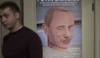 "A man passes by a poster with an artwork showing Russian President Vladimir Putin as Spanish artist Salvador Dali during the ""Putin Universe"" exhibition in Moscow, Russia, Wednesday, Oct. 7, 2015. Artists have drawn the Russian president using 30 heroic themes originating from different countries and world epochs at a two-day exhibition in Moscow. Russian President Vladimir Putin celebrates his 63rd birthday on Wednesday. (AP Photo/Pavel Golovkin)"