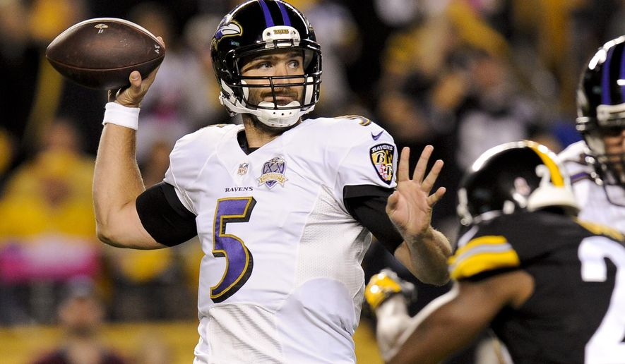 FILE - In this Oct. 1, 2015, file photo, Baltimore Ravens quarterback Joe Flacco looks to pass in the first half of an NFL football game against the Pittsburgh Steelers in Pittsburgh. The absence of two veteran receivers and his go-to tight end won't change a thing for Flacco on Sunday against the Browns. (AP Photo/Don Wright, File)