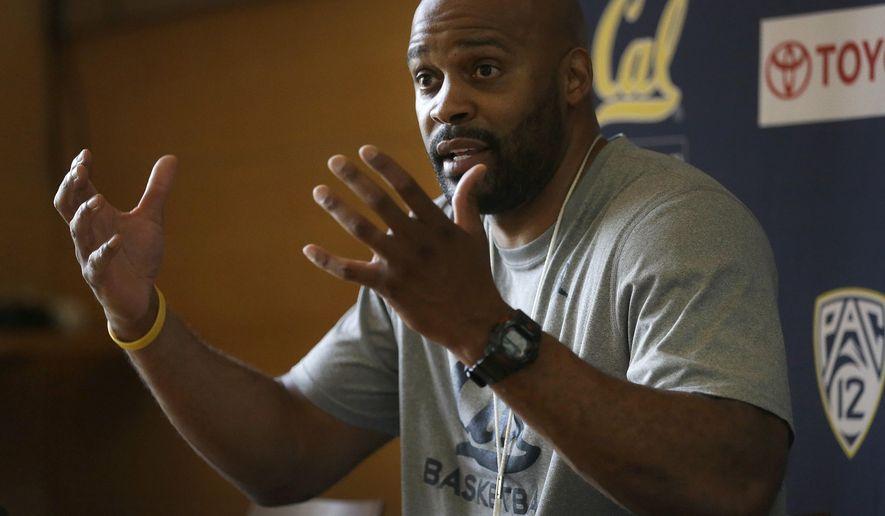 California mens basketball coach Cuonzo Martin gestures during a media conference Wednesday, Oct. 7, 2015, in Berkeley, Calif. (AP Photo/Ben Margot)