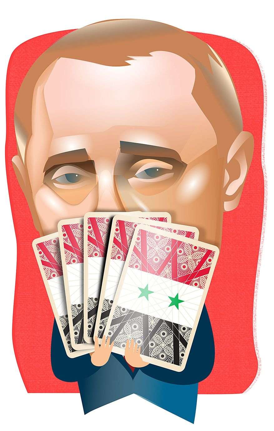 Illustration on Putin's moves in Syria by Linas Garsys/The Washington Times