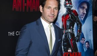 "In this July 13, 2015 file photo, Paul Rudd attends a special screening of ""Ant-Man"" in New York. ""Ant-Man"" is getting a sequel -- ""Ant-Man and the Wasp,"" which is set for release on July 6, 2018, the studio announced in Thursday, Oct. 8. (Photo by Charles Sykes/Invision/AP, File)"