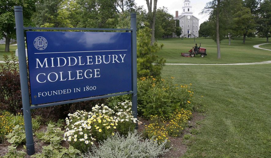 FILE - This July 22, 2008 file photo shows the campus of Middlebury College in Middlebury, Vt. As college campuses nationwide wrestle with how to address sexual assault, an even more complicated question is unfolding: how to prosecute and punish sexual assaults that happen in overseas study programs. The complexities were highlighted at Middlebury in September 2015 when a federal judge ordered the school to readmit a student it had expelled for a sexual encounter that occurred overseas.  (AP Photo/Toby Talbot, File)