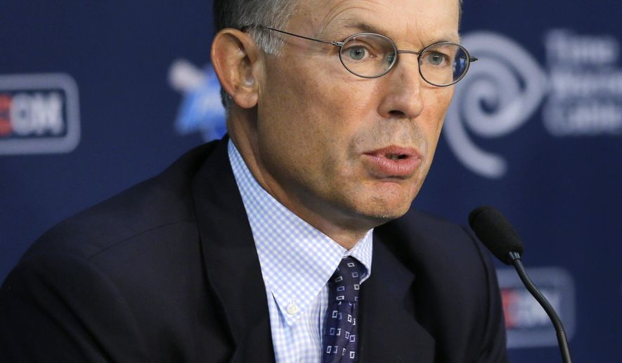 This Monday, Aug. 31, 2015, photo shows Cleveland Indians owner Paul Dolan speaking at a news conference in Cleveland. An investment bank hired by Dolan has identified a potential minority partner for the franchise and could be closing in on a deal. The Dolan family has owned the Indians since 1999. (AP Photo/Tony Dejak)