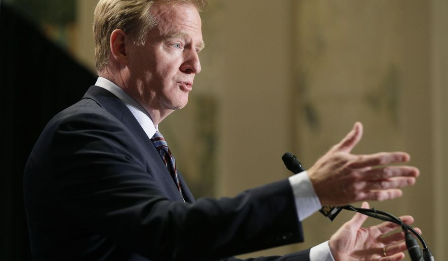 NFL Commissioner Roger Goodell speaks during a news conference at the conclusion of the league's fall meetings Wednesday, Oct. 7, 2015, in New York. Goodell said that he expects NFL owners will vote on franchise relocation to Los Angeles. (AP Photo/Julie Jacobson)
