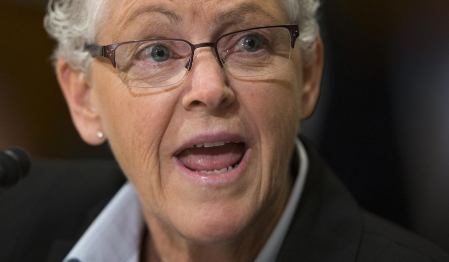 Environmental Protection Agency (EPA) Administrator Gina McCarthy testifies on Capitol Hill in Washington, in this Sept. 16, 2015, file photo. (AP Photo/Evan Vucci)