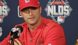 St. Louis Cardinals manager Mike Matheny answers questions during a press conference, Thursday, Oct. 8, 2015, in St. Louis. The Cardinals face the Chicago Cubs, for the first time in post-season history, in the National League Division Series.  (AP Photo/Tom Gannam)